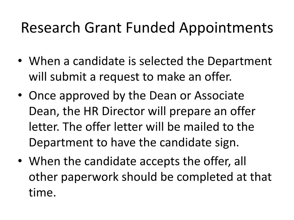 Research Grant Funded Appointments