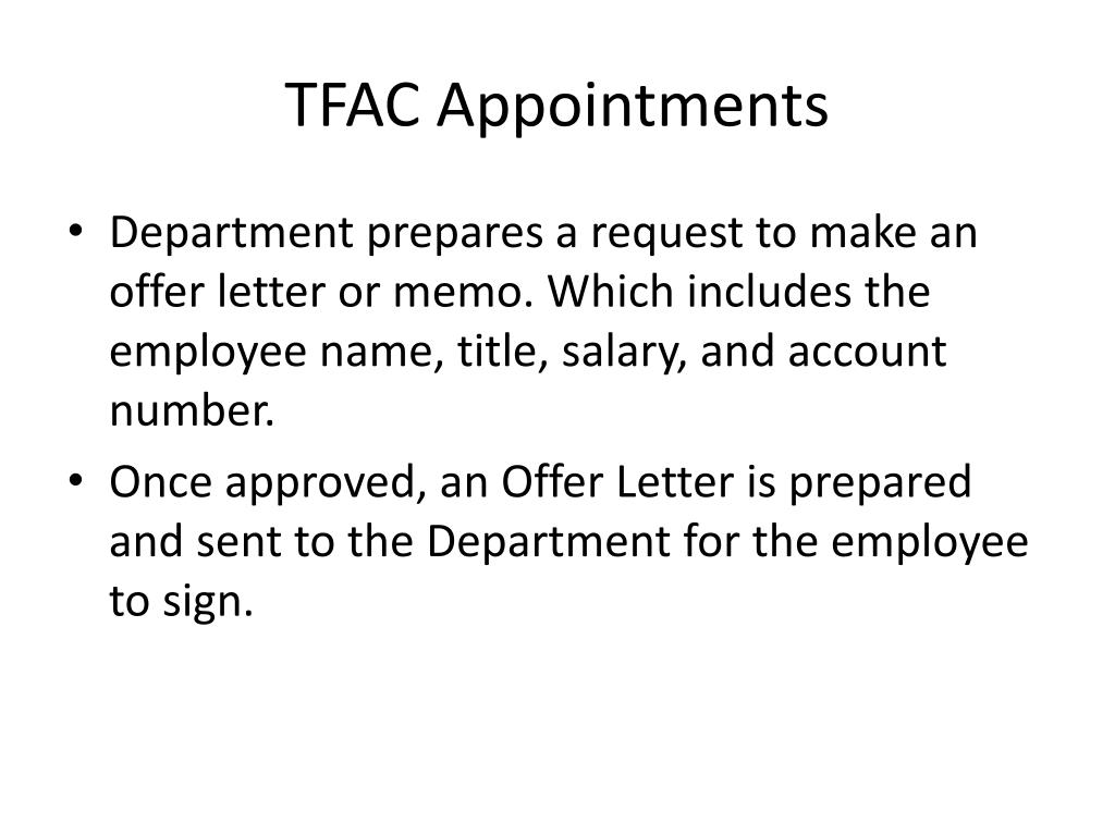 TFAC Appointments