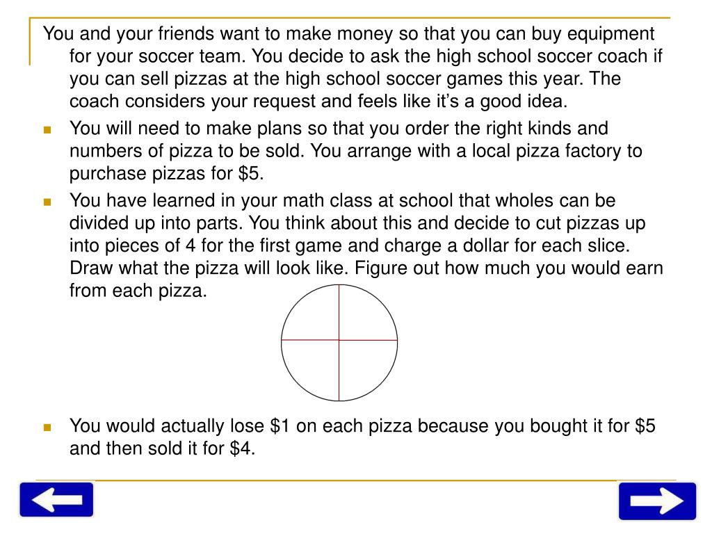 You and your friends want to make money so that you can buy equipment for your soccer team. You decide to ask the high school soccer coach if you can sell pizzas at the high school soccer games this year. The coach considers your request and feels like it's a good idea.