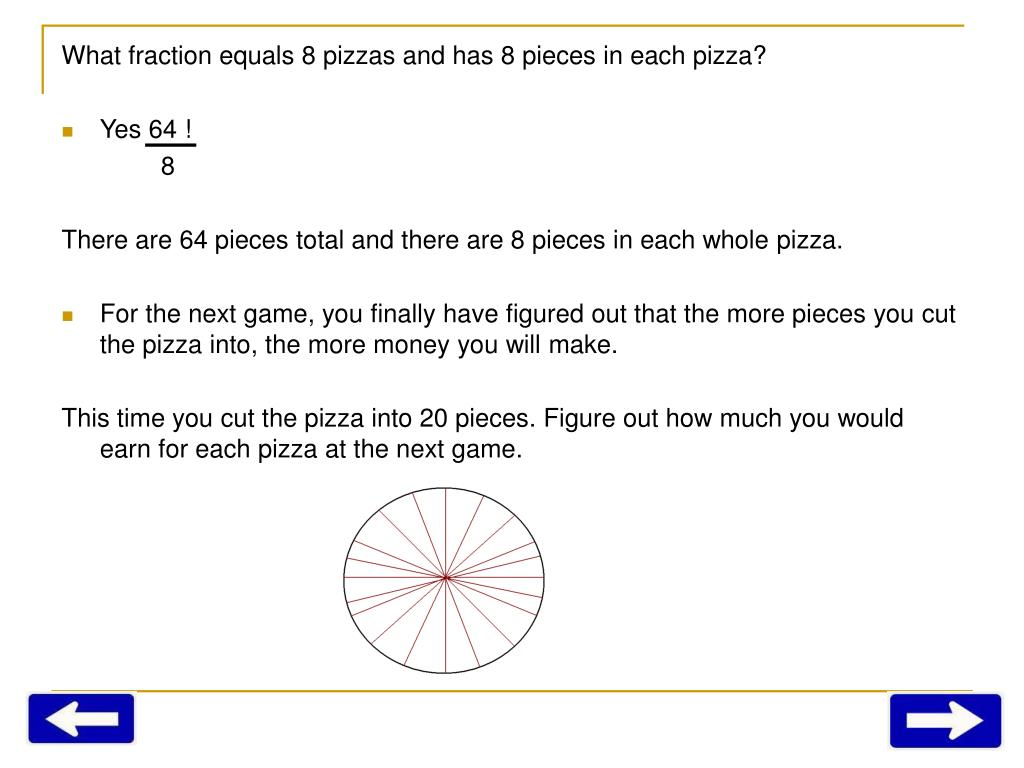 What fraction equals 8 pizzas and has 8 pieces in each pizza?