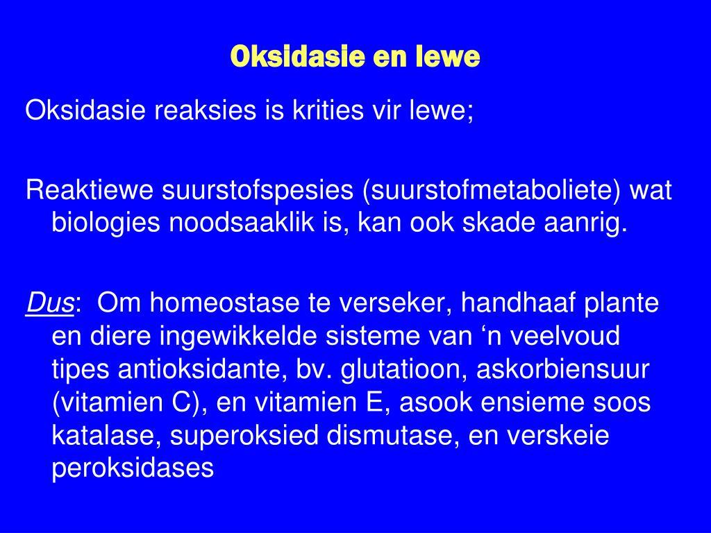 Oksidasie en lewe