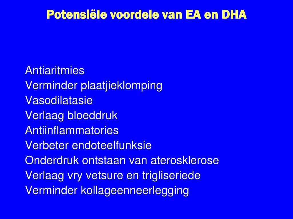 Potensiële voordele van EA en DHA