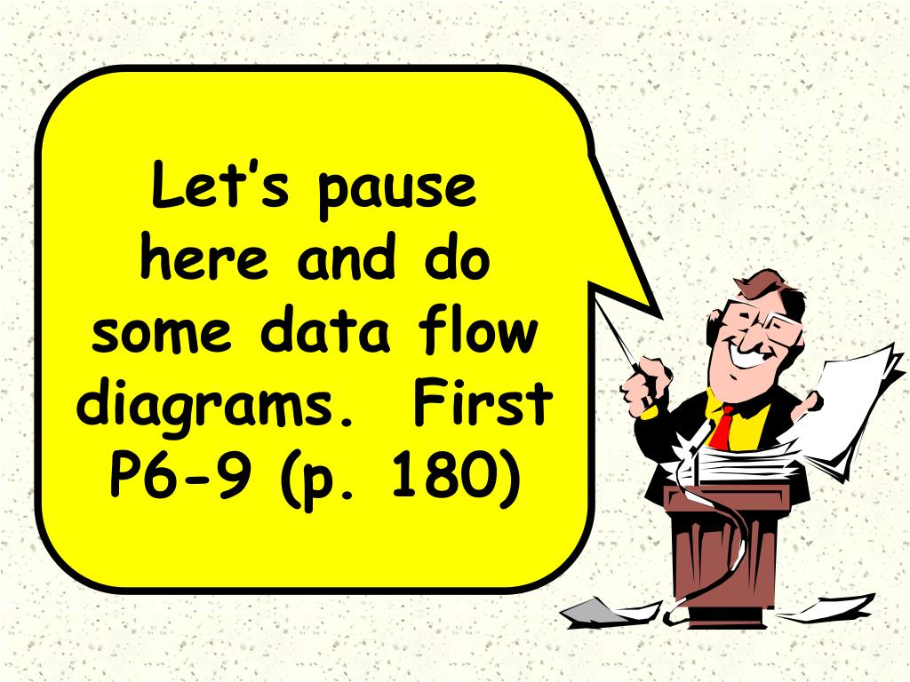 Let's pause here and do some data flow diagrams.  First P6-9 (p. 180)