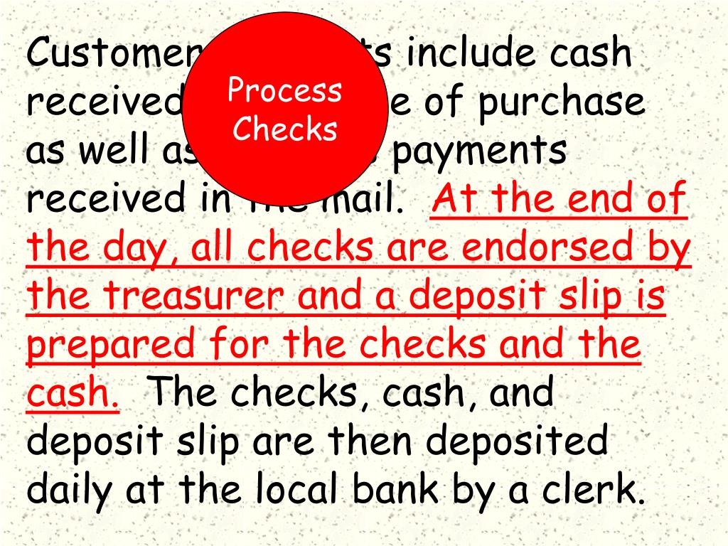 Customer payments include cash received at the time of purchase as well as accounts payments received in the mail.