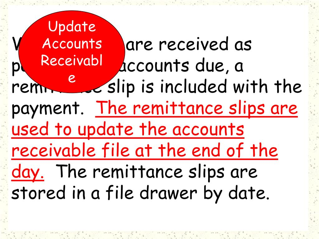 When checks are received as payment for accounts due, a remittance slip is included with the payment.