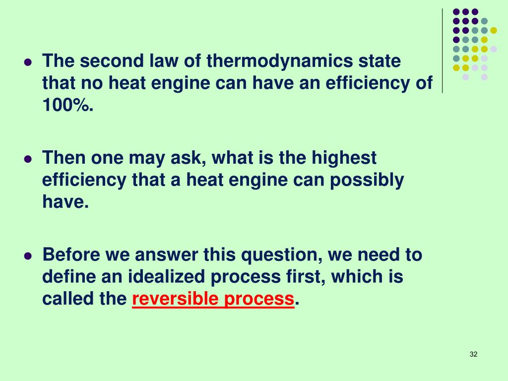 The second law of thermodynamics state that no heat engine can have an efficiency of 100%.