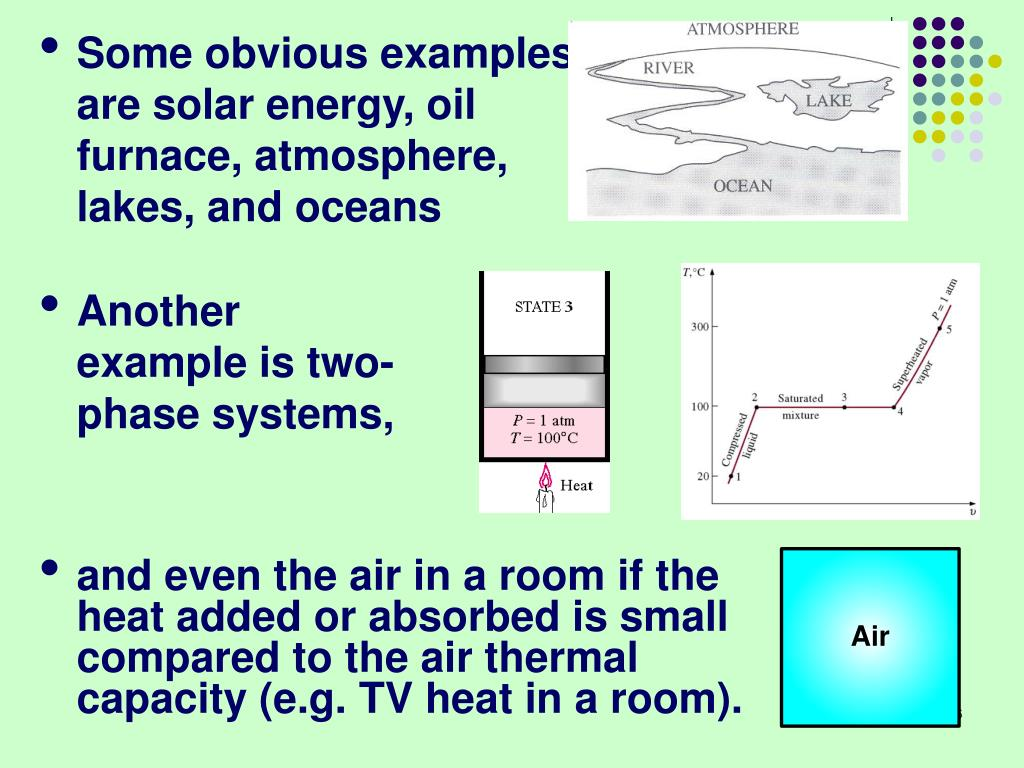 Some obvious examples  are solar energy, oil furnace, atmosphere, lakes, and oceans