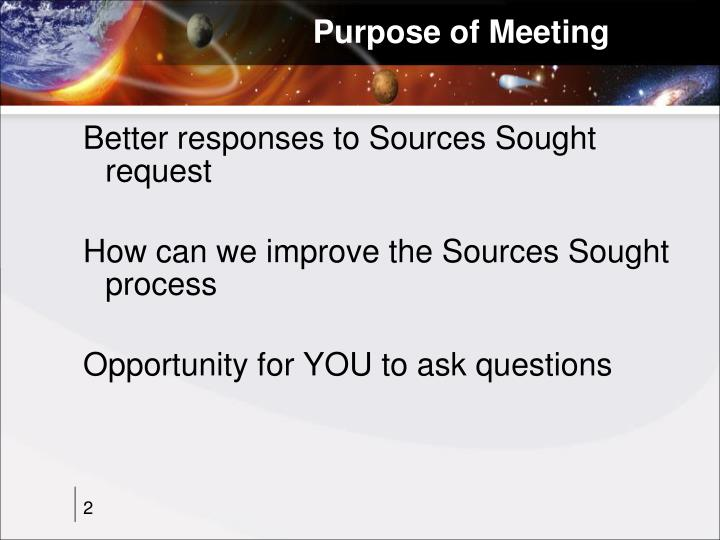 Purpose of meeting