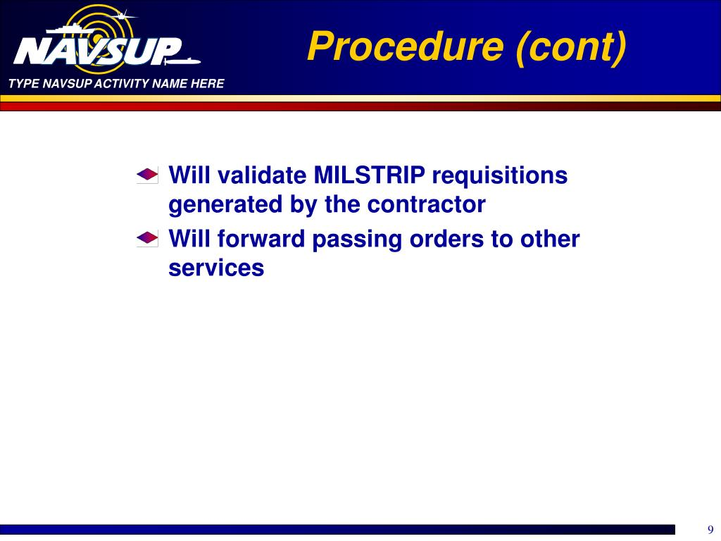 Procedure (cont)