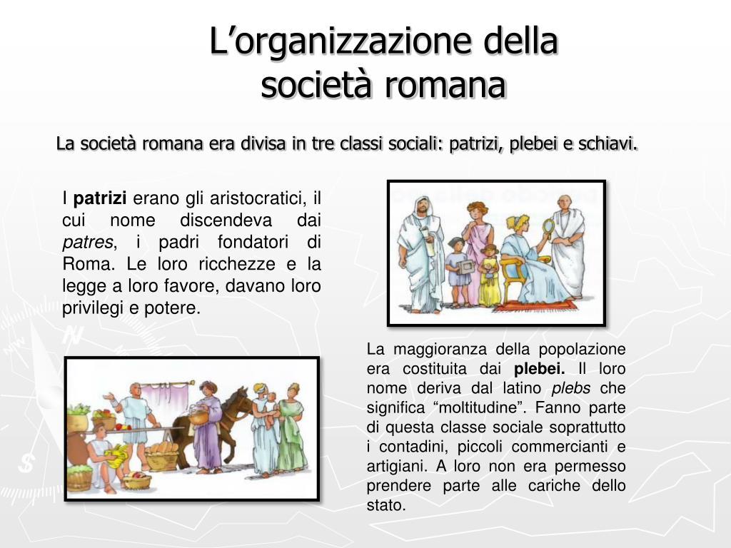 L'organizzazione della società romana