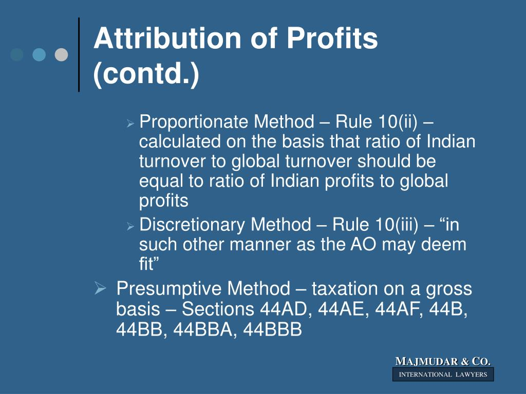 Attribution of Profits (contd.)