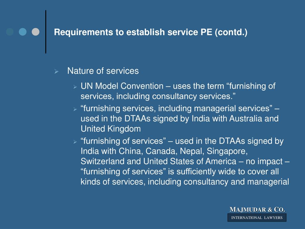 Requirements to establish service PE (contd.)