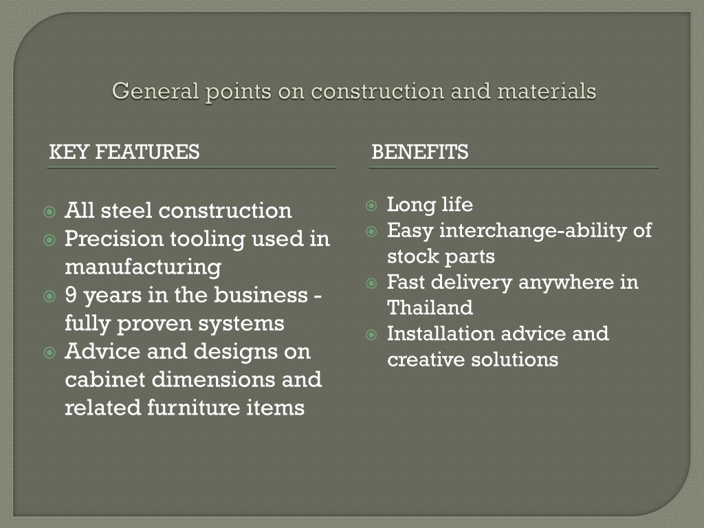 General points on construction and materials