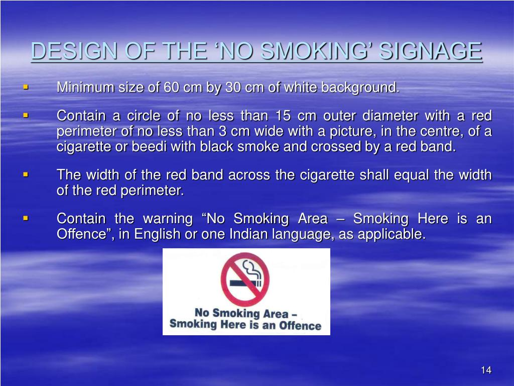 DESIGN OF THE 'NO SMOKING' SIGNAGE