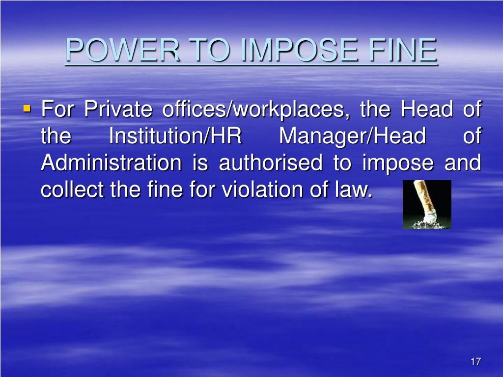 POWER TO IMPOSE FINE