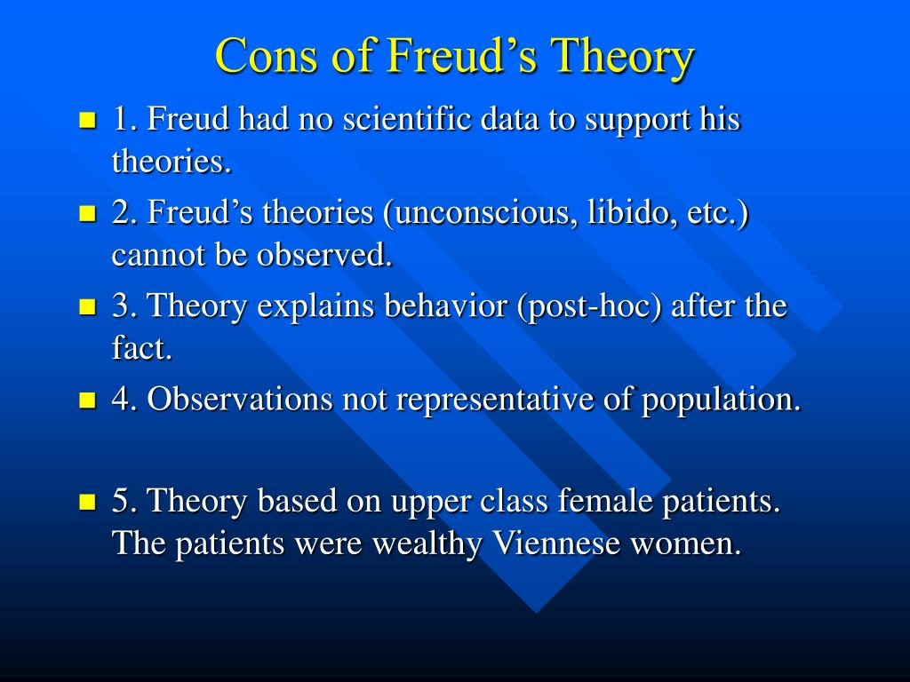 pros and cons of sigmund freud s theory Start studying strengths and weaknessess of psychoanalysis  there is biological research that supports some of freud's  the approach lacks a theory of.