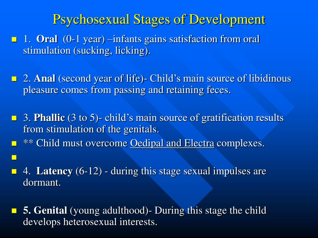 freud's psychosexual stages of development in The phallic stage is the setting for the greatest, most crucial sexual conflict in freud's model of development in this stage, the child's erogenous zone is the genital region as the child becomes more interested in his genitals, and in the genitals of others, conflict arises.