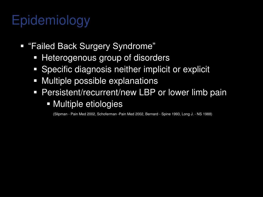 """Failed Back Surgery Syndrome"""
