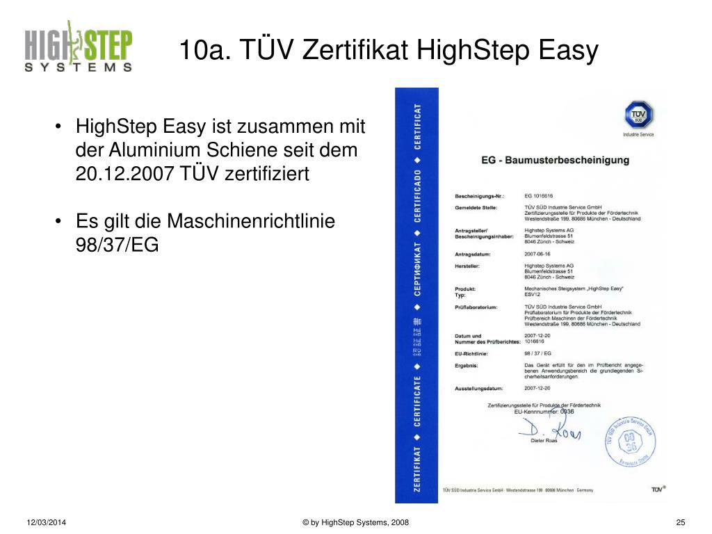 10a. TÜV Zertifikat HighStep Easy