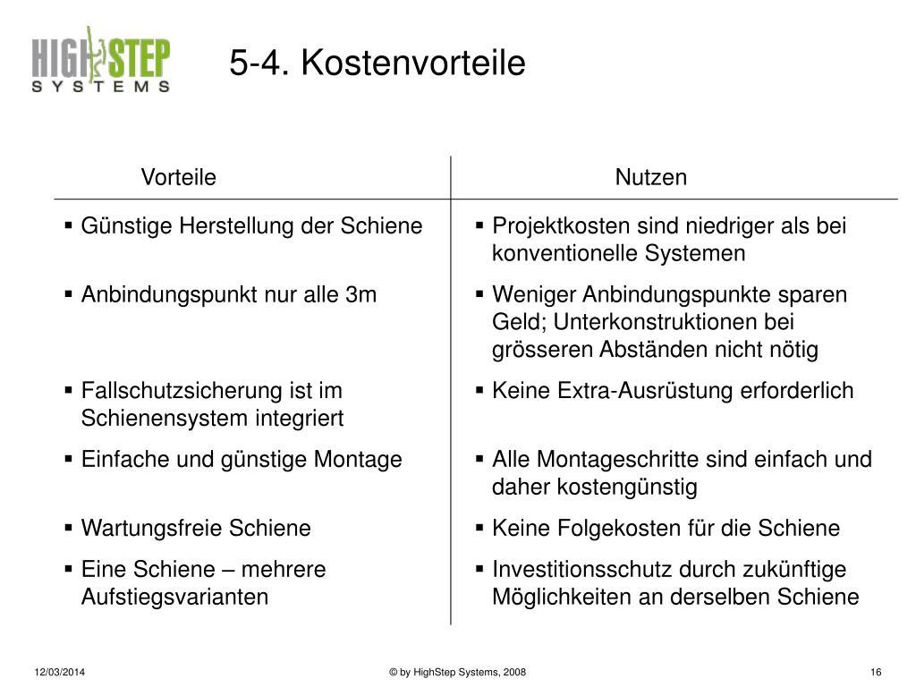 5-4. Kostenvorteile