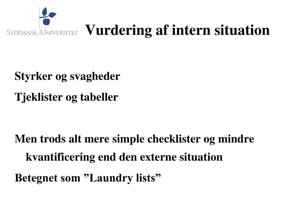 Vurdering af intern situation