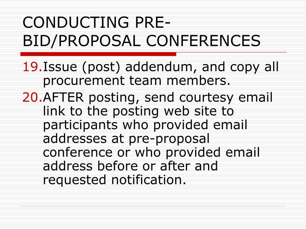 CONDUCTING PRE-BID/PROPOSAL CONFERENCES