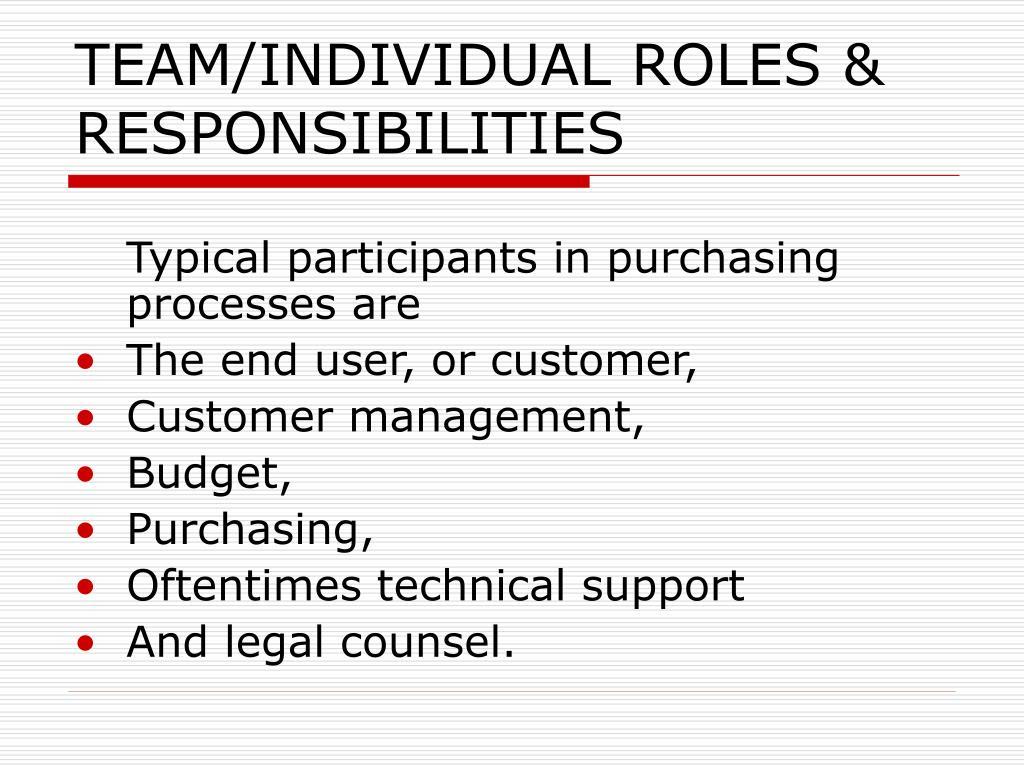 TEAM/INDIVIDUAL ROLES & RESPONSIBILITIES