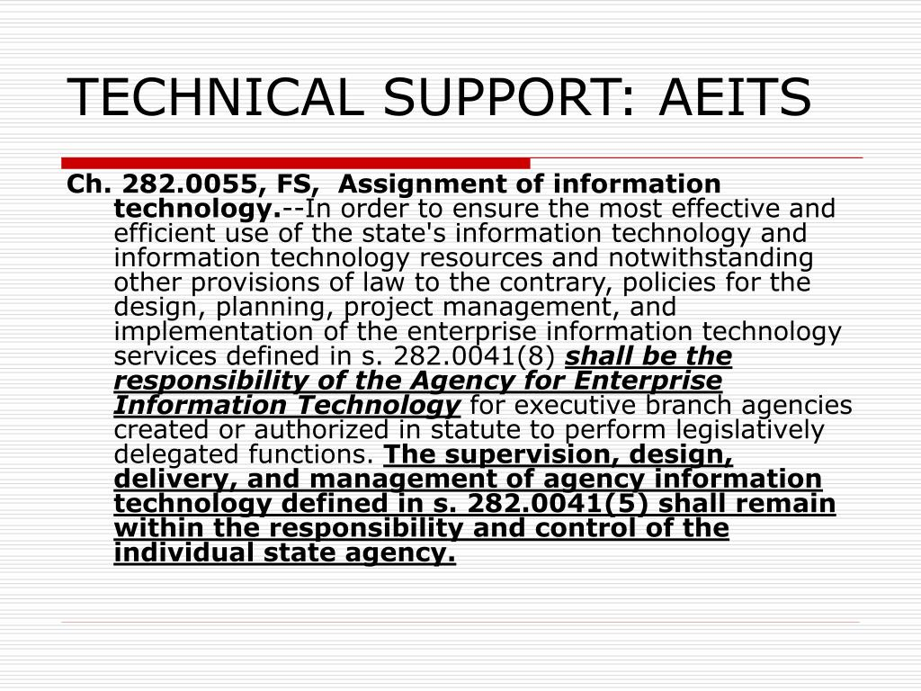 TECHNICAL SUPPORT: AEITS