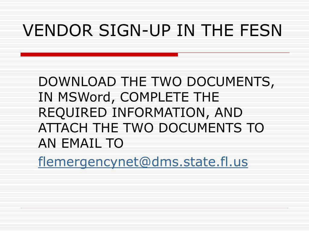 VENDOR SIGN-UP IN THE FESN