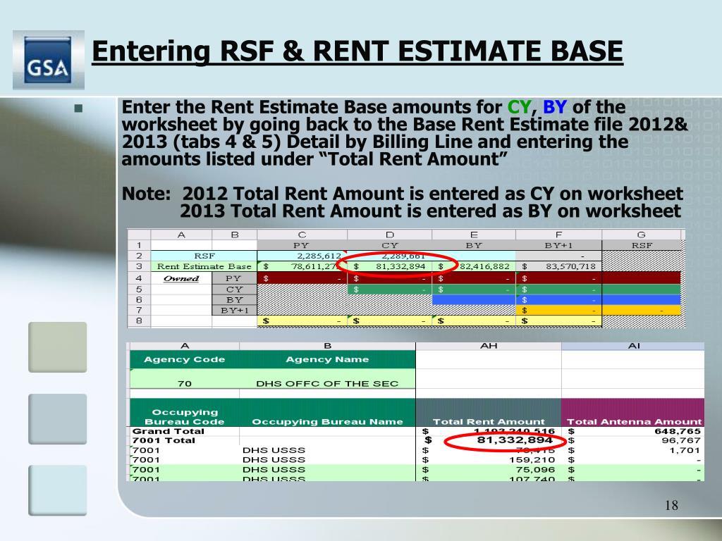 Entering RSF & RENT ESTIMATE BASE