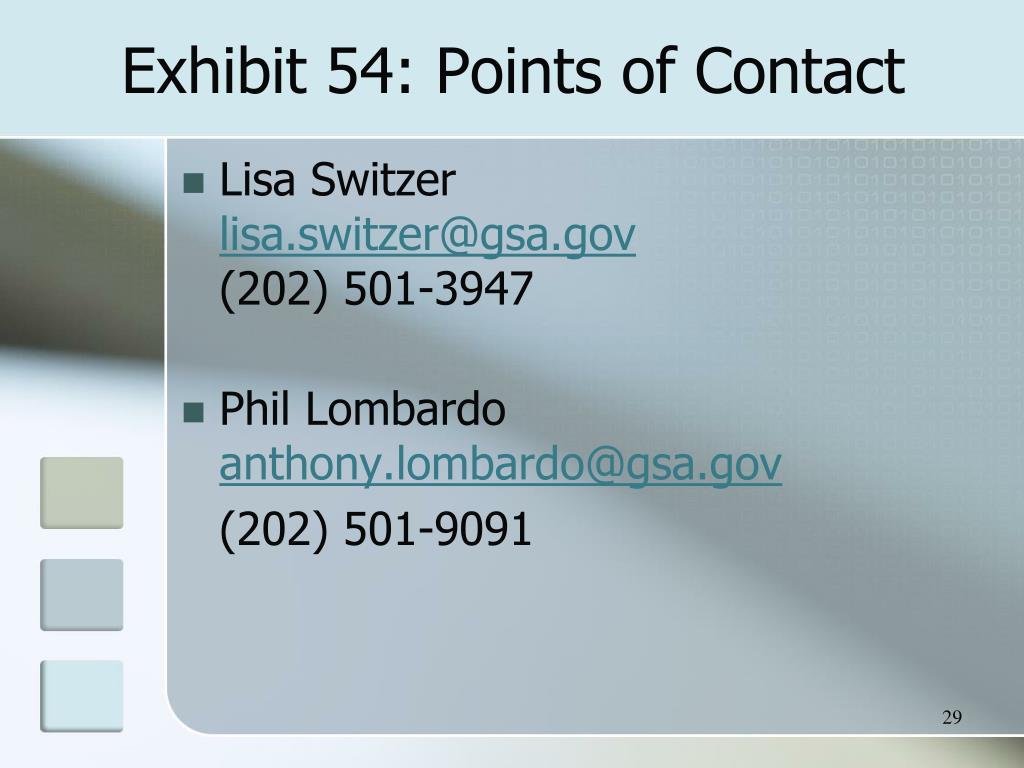 Exhibit 54: Points of Contact