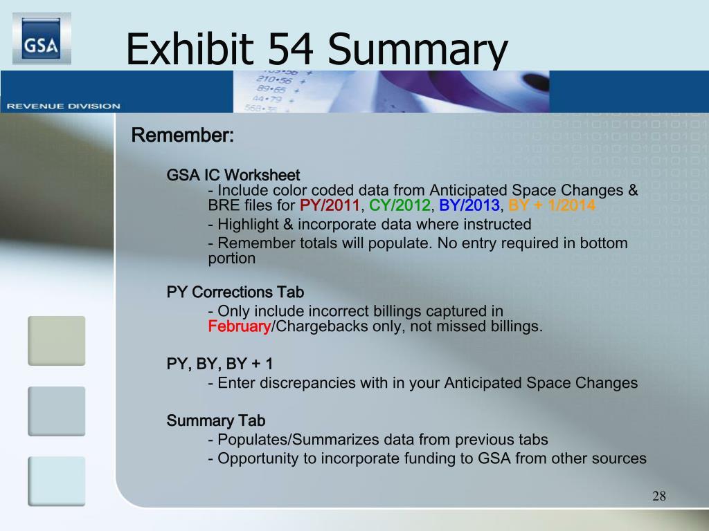 Exhibit 54 Summary