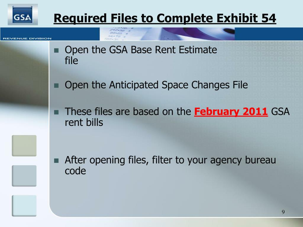 Required Files to Complete Exhibit 54