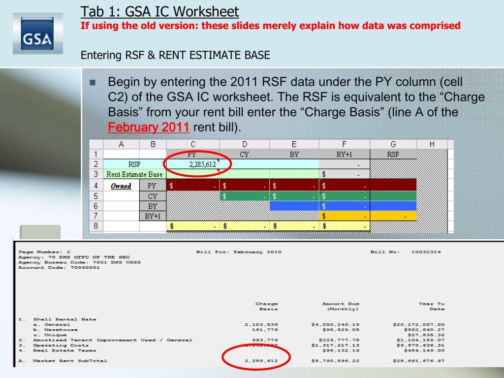 Tab 1: GSA IC Worksheet