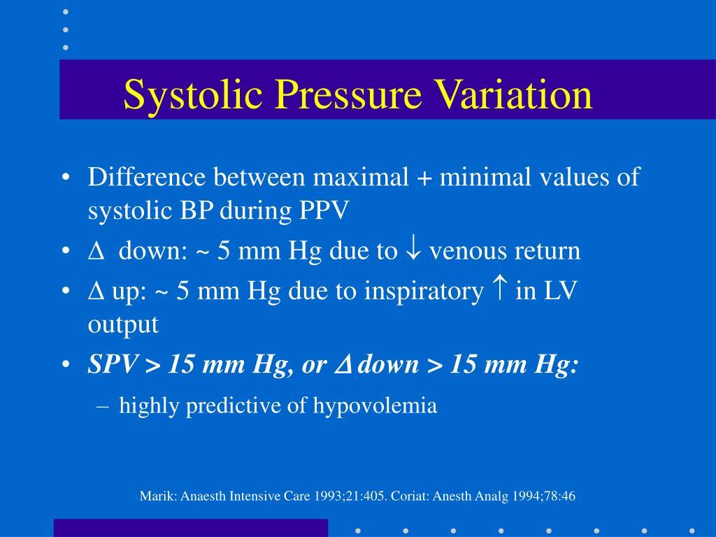 Systolic Pressure Variation