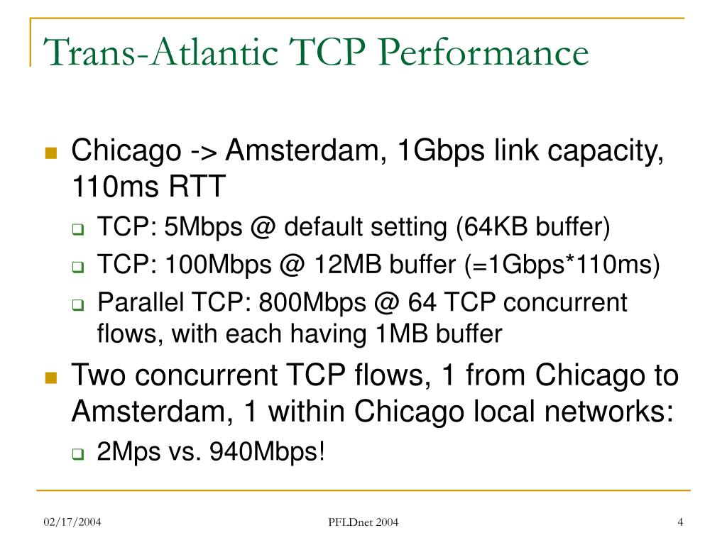 Trans-Atlantic TCP Performance