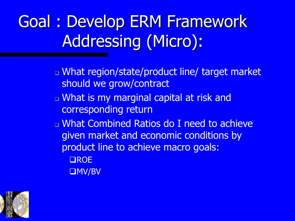 Goal : Develop ERM Framework Addressing (Micro):