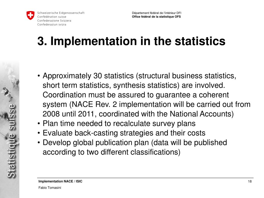 3. Implementation in the statistics