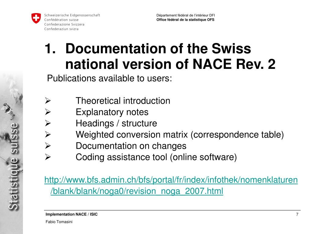 Documentation of the Swiss national version of NACE Rev. 2