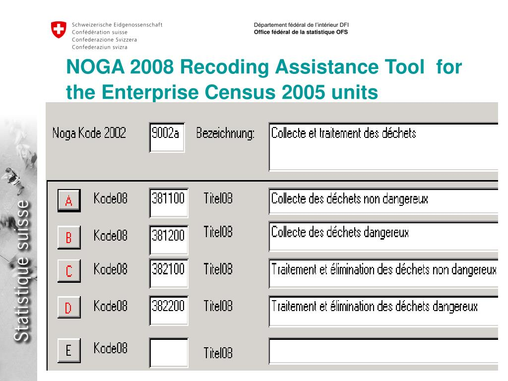 NOGA 2008 Recoding Assistance Tool  for the Enterprise Census 2005 units