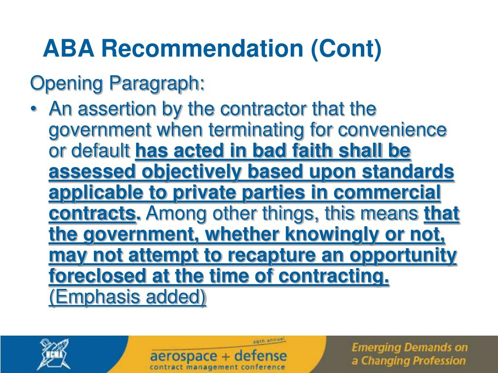 ABA Recommendation (Cont)