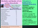 morbidity and quality of life in poor households