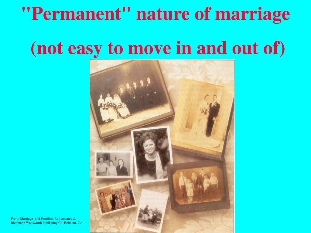 """Permanent"" nature of marriage"