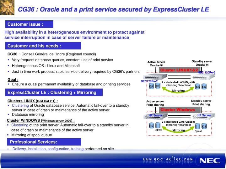 CG36 : Oracle and a print service secured by ExpressCluster LE
