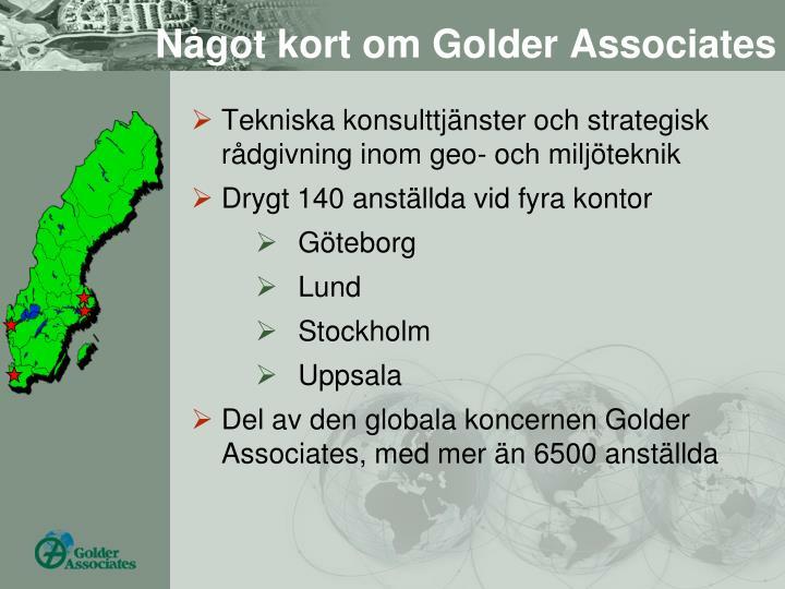 Något kort om Golder Associates