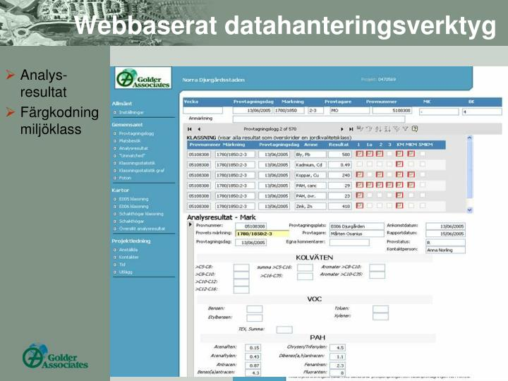 Webbaserat datahanteringsverktyg