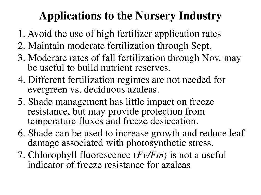 Applications to the Nursery Industry