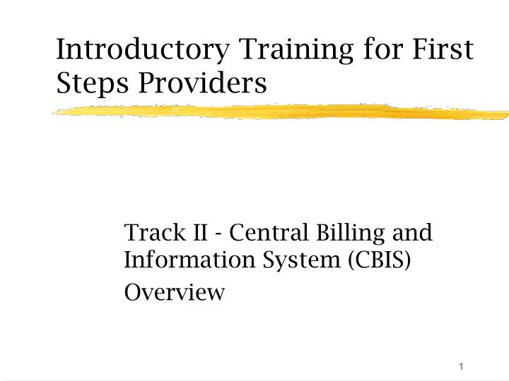 Introductory training for first steps providers l.jpg