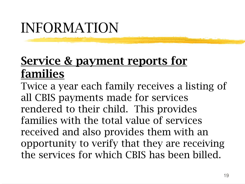 Service & payment reports for families