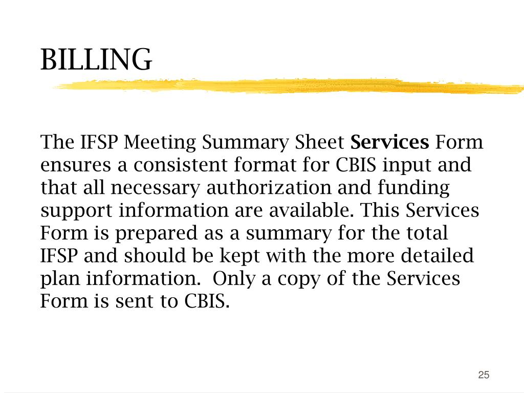 The IFSP Meeting Summary Sheet